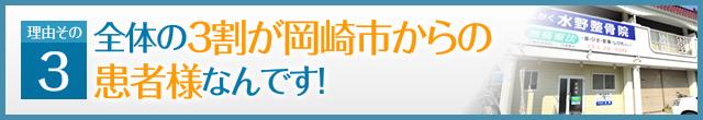 理由その3 全体の3割が岡崎市からの患者様なんです!